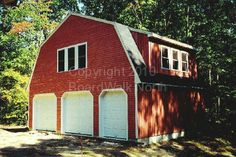 This 3-car garage with a gambrel roof style has a huge open concept room for entertaining.
