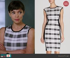 Camille's black and white plaid front dress on Bones.  Outfit Details: http://wornontv.net/41605/ #Bones