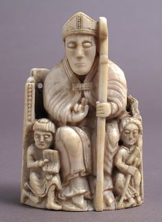Chess Piece in the Form of a Bishop with Two Attendants, Walrus Ivory, Norway, circa 1150-1200