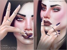 Some super simple, delicate rings on all fingers in 5 colors.  Found in TSR Category 'Sims 4 Female Rings'