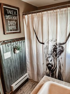 Our western bathroom! WesternBathroom BathroomSign Cow BohoBathroom Highlander DirtyHippie is part of Western bathrooms - Western Bathroom Decor, Western Bathrooms, Boho Bathroom, Small Bathroom, Western House Decor, Bathroom Ideas, Rustic Western Decor, Country Western Decor, Cowboy Bathroom