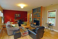 Southwestern Living Room with metal fireplace, Ms International Black Rust Slate, Carpet, Hardwood floors, High ceiling