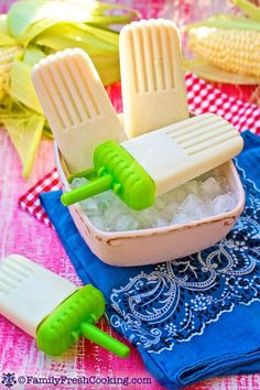 Creamed Corn Popsicles: Sweet corn is often a favorite of lil ones, but they don't always chew the kernels as much as they should. These Creamed Corn Popsicles combine creamed corn kernels with creamy coconut milk to make the pops easier to try.  Source: Family Fresh Cooking