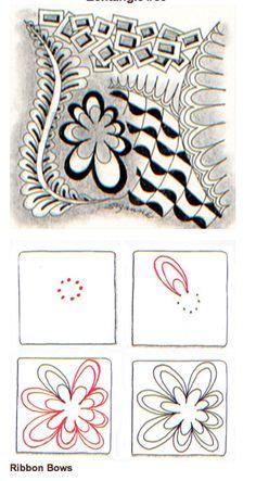 Tangle pattern: Blomst Ribbon Bows