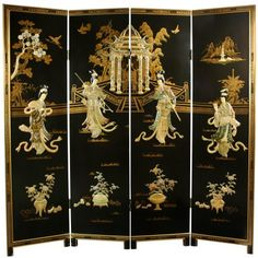 This stunning screen is hand-painted and hand-lacquered, and made of heavy, durable Elm wood. It features an exotic courtyard scene made of hand carved