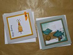 Stempelelemente, Stampin up, Geburtstagskarte, Torte,Fische
