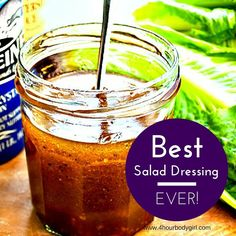 The Best Salad Dressing Recipe cup olive oil cup apple cider vinegar clove of garlic (minced) 1 tsp honey dijon mustard salt and pepper to taste Best Salad Dressing Recipe Ever, Salad Dressing Recipes, Salad Dressings, Vinagrette Dressing Recipe, Red Wine Vinaigrette, Balsamic Dressing, Chutneys, Salad Bar, Soup And Salad