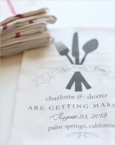 dish towel save the dates from Wedding Chicks #savethedates