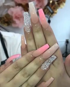 Bright Summer Acrylic Nails Discover 31 Awesome Acrylic Nail Designs Ideas for This Summer 2020 Aycrlic Nails, Glam Nails, Bling Nails, Manicures, Glitter Ombre Nails, Stiletto Nails, Fabulous Nails, Gorgeous Nails, Perfect Nails