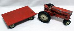 Vintage Tru-Scale Farm Tractor Trailer Equipment Metal Toy Model Red Rubber Tire #Carter