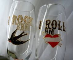 Personalised, Mr and Mrs glasses, rockabilly wedding, hand painted, champagne glasses,  wedding gift, swallow, tattoo heart on Etsy, $32.69