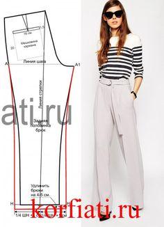 Выкройка широких брюк от Анастасии Корфиати