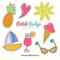 Hand drawn summer patch badges Free Vector
