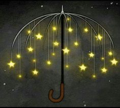 Umbrella of stars illustration Umbrella Art, Under My Umbrella, You Are My Moon, Sun Moon Stars, Umbrellas Parasols, Falling Stars, Whimsical Art, Night Skies, Good Night