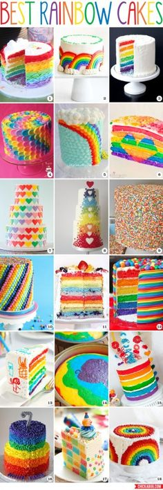 best rainbow cakes Everyone loves a rainbow cake! Here are a ton of rainbow cake recipes & decorating ideas.Everyone loves a rainbow cake! Here are a ton of rainbow cake recipes & decorating ideas. Rainbow Parties, Rainbow Birthday Party, Cake Birthday, Rainbow Wedding, Birthday Ideas, Beautiful Cakes, Amazing Cakes, Rainbow Food, Rainbow Cakes
