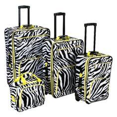 Rockland Luggage 4 Piece Lime Zebra Expandable Rolling Luggage Set