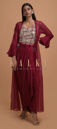 Berry Red Dhoti Suit With Embellished Blouse And Ruffled Sleeved Jacket Online - Kalki Fashion Salwar Kameez, Kurti, Jackets Online, Party Wear, Berry, Tassels, Coins, Sequins, Satin