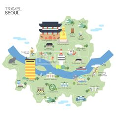 Illustration of Map of Korea Seoul with tour attraction vector art, clipart and stock vectors. Seoul Map, Lotte World, World Street, Travel Crafts, Korean Design, Traditional Paintings, City Maps, Map Design, Urban Sketching
