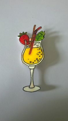 Hand drawn cocktail brooch. by BeUniqueCrafting on Etsy