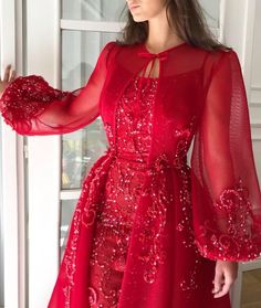 Details - Red cherry dress - Embroidery fabric design with mesh net fabric - Handmade embroidery design - Sirene shape - Ball night and evening