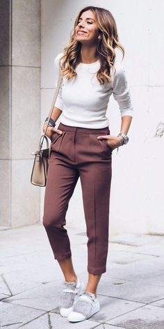 White Top + Purple Pants + White Sneakers Source