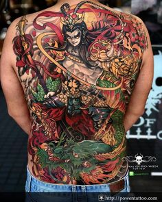 Japanese Tattoos For Men, Japanese Tattoo Symbols, Japanese Dragon Tattoos, Traditional Japanese Tattoos, Back Tattoos For Guys, Full Back Tattoos, Great Tattoos, Samurai Tattoo, Yakuza Tattoo