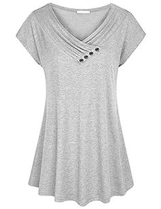 Baikea Womens Cap Sleeve Cowl V Neck Loose Flare Tunic Top Blouse with Button TrimBaikea Cap Sleeve Tunic Tops, Women Button V Neck Top Workwear Tunic Blouse Lightweight A Line Medium Summer Swing Shirt for Leegings Beige MAiryDress / Solid Casual Co Tunic Blouse, Shirt Blouses, Tunic Tops, T Shirt Top, Summer Blouses, Caps For Women, V Neck Tops, Tunics With Leggings, Sleeves
