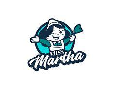 Logo design concept for Miss Martha Typo Logo Design, Bakery Logo Design, Typography Logo, Logo Branding, Branding Design, Graphic Design, Food Company Logo, Logo Food, Logo Character