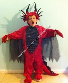 """Homemade Dragon Child Halloween Costume Idea: My 4 year old son really wanted to be a dragon for Halloween this year but every costume I found was too """"babyish"""" for a 4 year old so I decided to make"""
