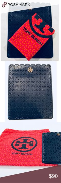 """Tory Burch iPad Navy Blue Ipad Case Beautiful authentic Tory Burch iPad case, in excellent condition. Color is Navy Blue. Rarely used - only flaws are the scratches to the TB logo that you can hardly notice. Will send with a free, cute Tory duster bag as a bonus. :)  10.25 x 8.25"""" (fits original size iPad) Tory Burch Accessories"""