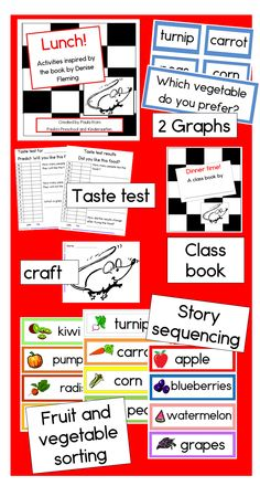 Activities to follow up the book Lunch by Denise Fleming.  Graph headers for pocket chart, cover and choices for inner pages for class book, taste test before and after graphs, painting craft, fruit and vegetable sorting cards, and story sequencing.  TpT $