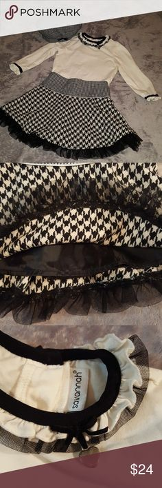 Savanna Houndstooth Skirt and Top and Hat Very vintage looking! It is Too Cute on a little girl. I do not have a pic of it of my little girl wearing it. Sorry! Black and Ivory Cream matching set. No flaws.  Completely machine washable on delicate cycle. Savannah Matching Sets