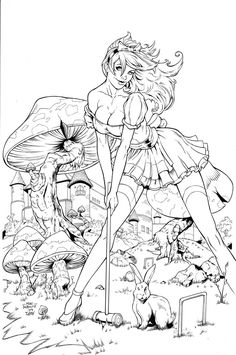 Wonderland Mushroom inks by madman1.deviantart.com on @deviantART