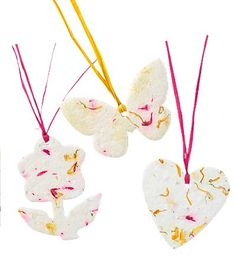 Biodegradable Paper Ornament Embedded with Flower Seeds, Set of 3