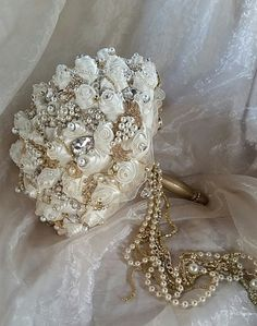 IVORY AND GOLD Jeweled Bouquet Deposit for by Elegantweddingdecor