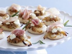 Pizzettes with Caramelized Onions, Goat Cheese and Prosciutto from Everyday Italian with Giada | CookingChannelTV.com