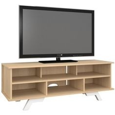 """Nexera Stiletto 54"""""""" TV stand ($205) ❤ liked on Polyvore featuring home, furniture, storage & shelves, entertainment units, maple, shelves furniture, contemporary shelf, storage shelves, contemporary storage furniture and storage shelf"""