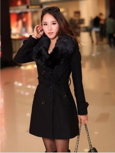Elegant Fur Collar Double Breasted Long Coat