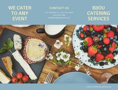 Blue and Yellow Flat Lay Catering Trifold Brochure