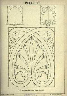 see site for many more - 1895 - Cusack's freehand ornament. A text book with chapters on elements, principles, and methods of freehand drawing, for the general use of teachers and students . by Armstrong, Charles Pattern Art, Pattern Design, Art Nouveau, Ornament Drawing, Desenho Tattoo, Leather Pattern, Islamic Art, Line Drawing, Wood Carving