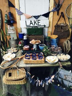 Amazing fishing at the lake summer party! See more party planning ideas at Catch… - Lake Fishing Tips Ideas 2020 Retirement Parties, First Birthday Parties, Birthday Party Themes, Themed Parties, Lake Party, Beach Party, Lumberjack Birthday Party, Summer Diy, Summer Parties
