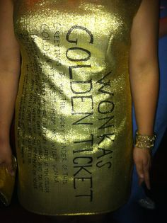 Golden ticket costume for Willy Wonka theme.  Gold material and sharpie