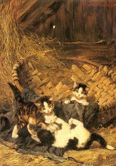 Chatons jouant dans le panier Julius Adam Collection privée