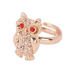 Korean Vintage Persoanlity Fashion OWL Decorated With CZ Diamond Openings Design Rings (Rose Gold) General  Fashionable with passion REPIN if you like it.😊 Only 124 IDR