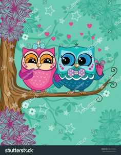 A couple of owls on a branch in the forest. Pink and blue owl with a gift box. Romance - compre este vetor na Shutterstock e encontre outras imagens. Cute Owls Wallpaper, Disney Wallpaper, Owl Art, Bird Art, Painted Rocks, Hand Painted, Owl Cartoon, Owl Pictures, Beautiful Owl