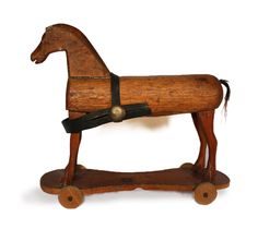 Antique Beautiful early 1800s primitive FRENCH Wooden rolling Toy