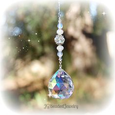 Moonstone Prism Crystal Suncatcher #Moonstone #Suncatchers #Hanging #Crystals #Rearview #Window #Unique Designs by Sharon at JGBeads