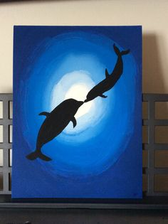 A flat canvas, 12x9 acrylic painting. Perfect for a dolphin lover. Buy this artwork at my page.