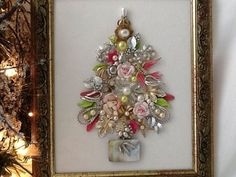 Vtg Jewelry Christmas Tree Shabby Chic Roses Bird Butterfly Pearls