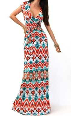 Moa moa chevron maxi dress